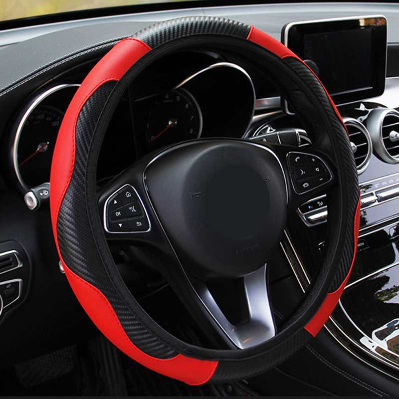 YT-7Q New Car Steering Wheel Cover Artificial Leather Elastic Automotive Steering- Wheel Embossing Leather Over Car-styling
