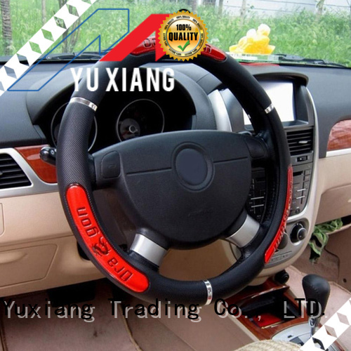 Yuxiang leather wrap steering wheel cover factory for vehicle