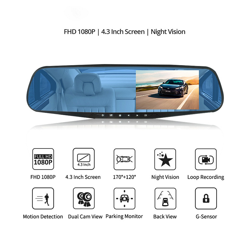 Full HD 1080P Car Dvr Camera Hd Dvr Dash Cam Auto 4.3 Inch Rearview Mirror Digital Video Recorder Dual Lens Registratory Camcorder