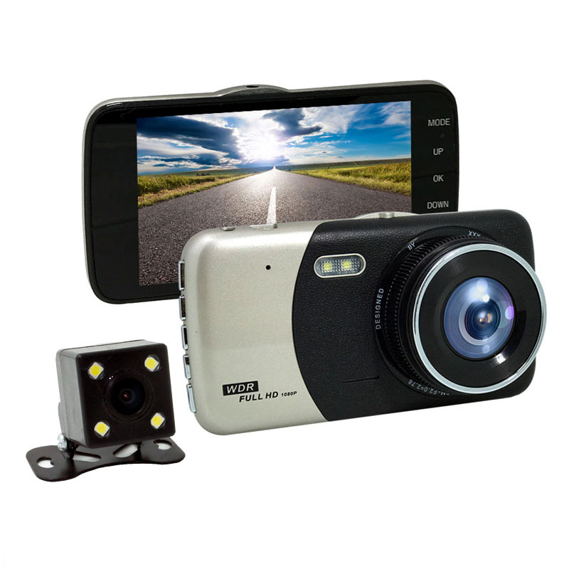 """4.0""""Large Display 1080P FHD WDR Dual LED Lights DVR Recorder Car Event Data Recorder"""
