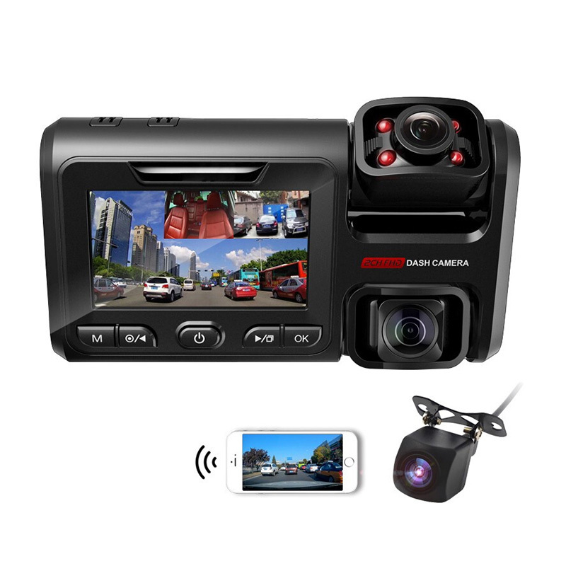 Infrared3.0-inch vehicle-mounted DVR triplex camera dashcam dashcam