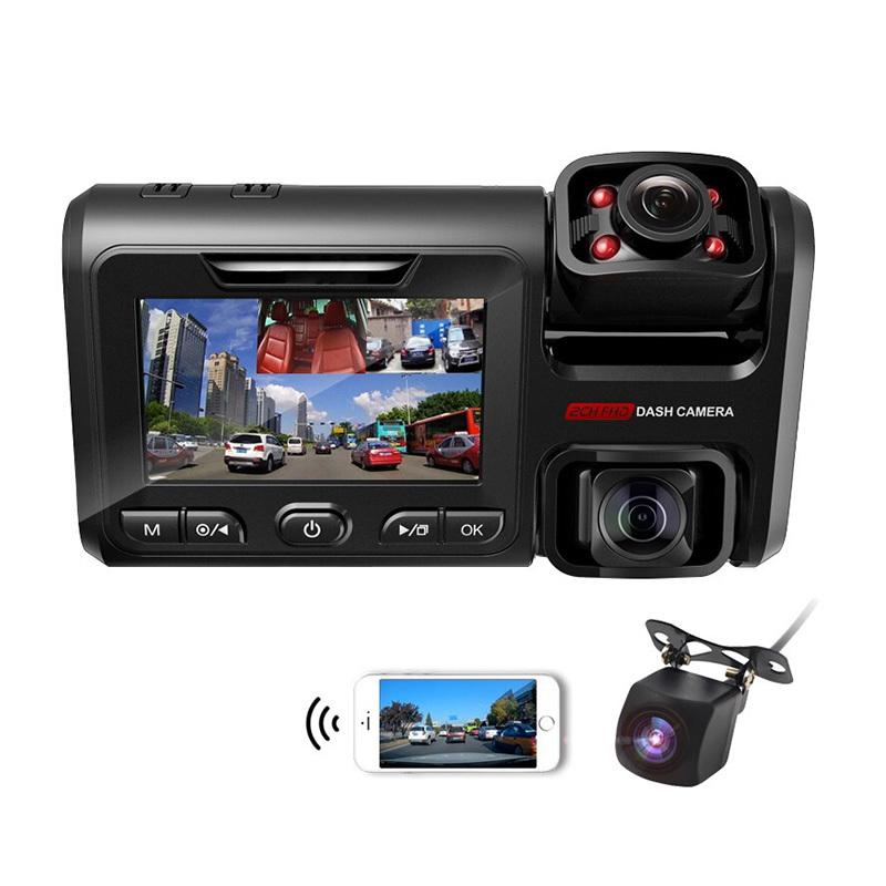 Infrared3.0-inch vehicle-mounted DVR triplex camera dashcam dashcam