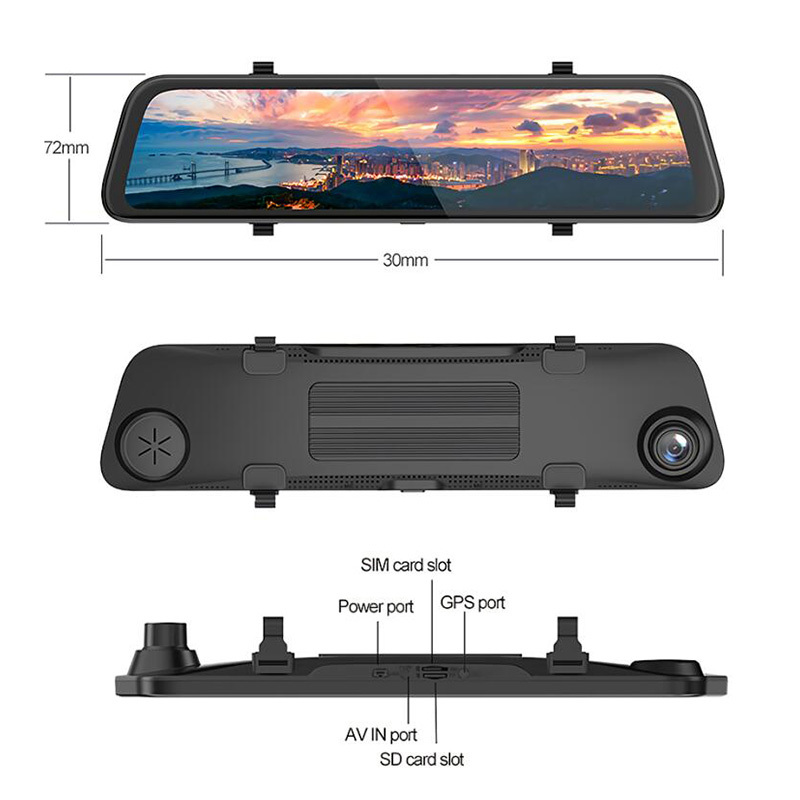 Mirror Dash Cam  Smart Streaming Mirror DVR Recorder 4G Android 8.1 GPS